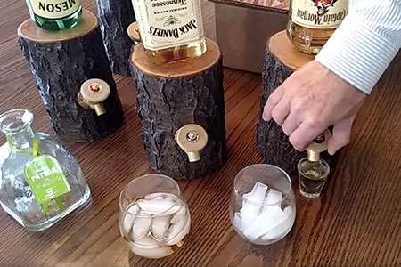 Wood Log Liquor Dispenser