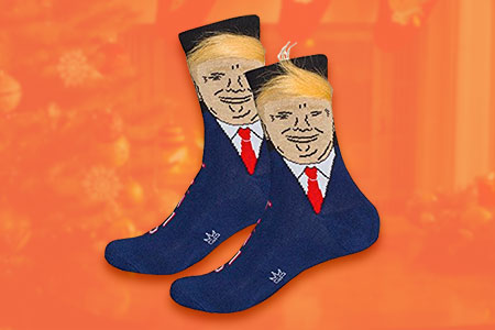 Trump Socks with Fake Hair Comb Over